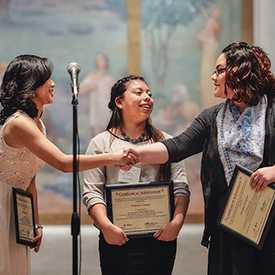 Award Winners Michelle Zhou, Verona Gomez, and Oceana Vasquez